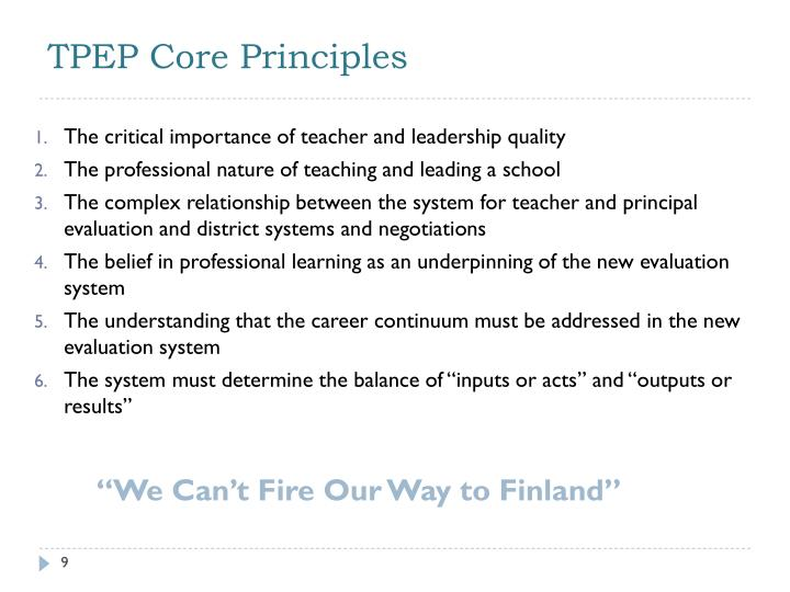 TPEP Core Principles