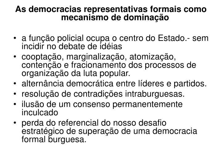 As democracias representativas formais como mecanismo de dominação