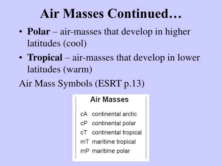 Air Masses Continued…