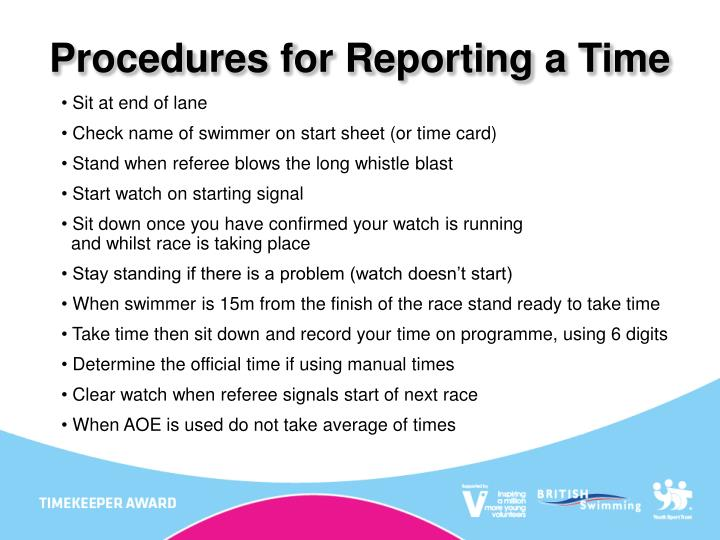 Procedures for Reporting a Time