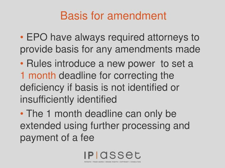 Basis for amendment