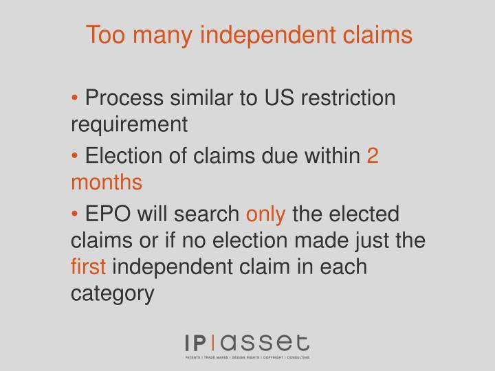 Too many independent claims