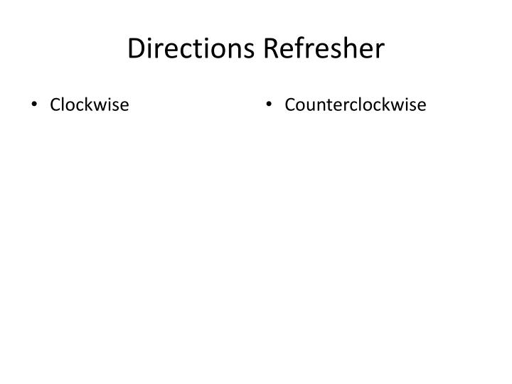 Directions Refresher