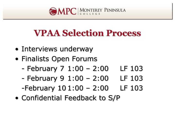 VPAA Selection Process
