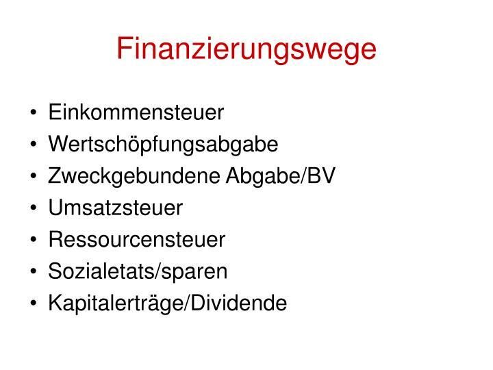 Finanzierungswege
