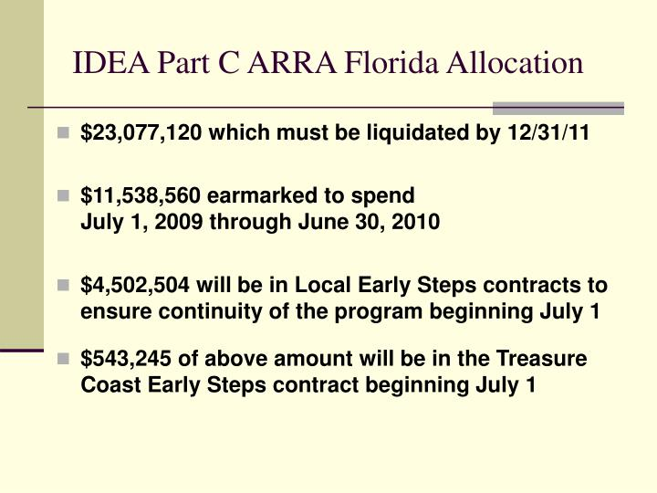 Idea part c arra florida allocation