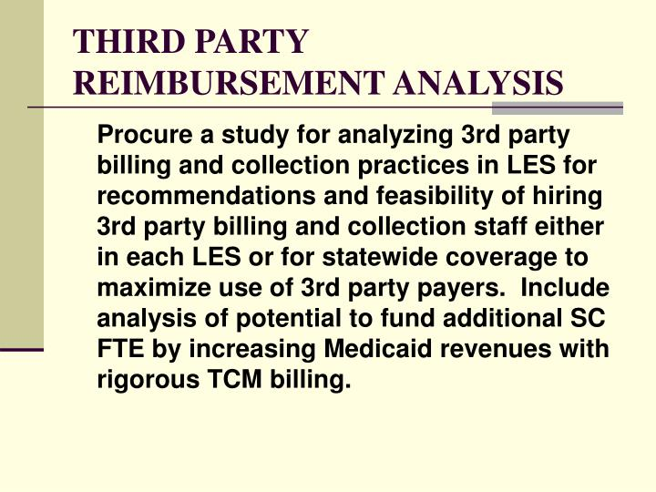 THIRD PARTY REIMBURSEMENT ANALYSIS