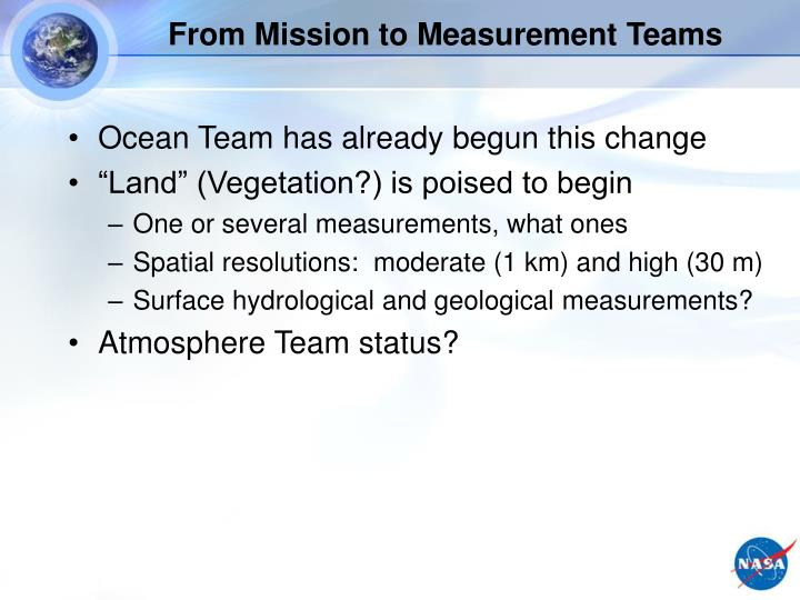 From Mission to Measurement Teams
