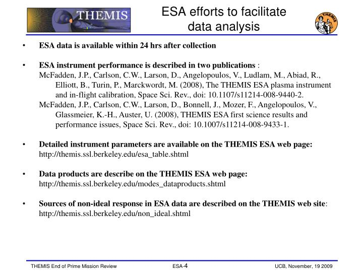 ESA efforts to facilitate data analysis
