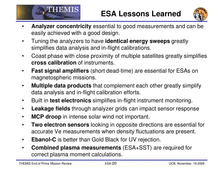 ESA Lessons Learned