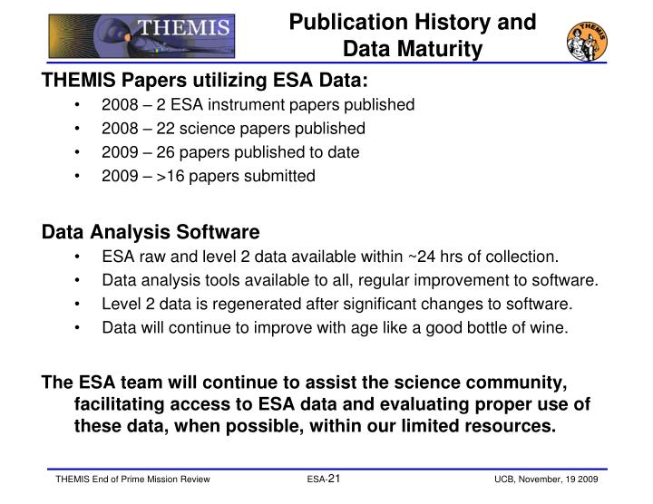 Publication History and Data Maturity