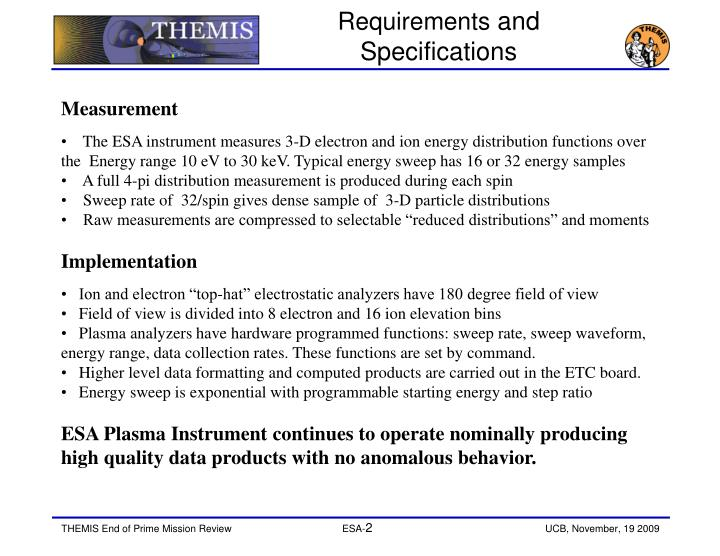 Requirements and specifications