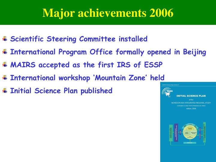 Major achievements 2006
