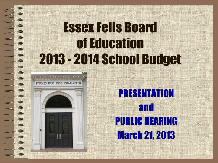 essex fells board of education 2013 2014 school budget