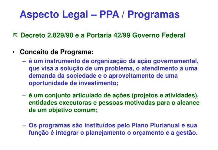 Aspecto Legal – PPA / Programas