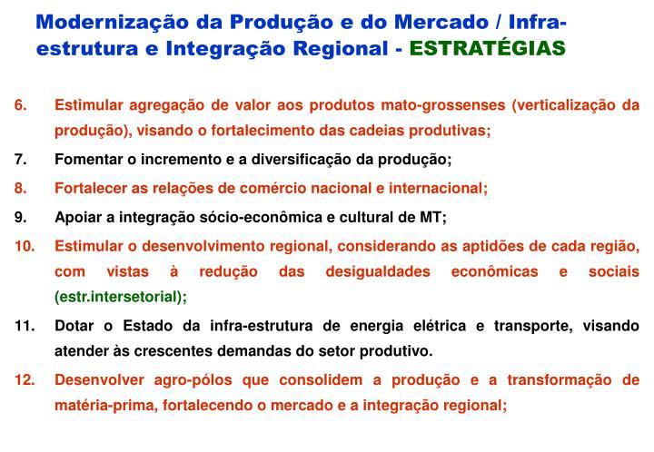 Modernização da Produção e do Mercado / Infra-estrutura e Integração Regional -
