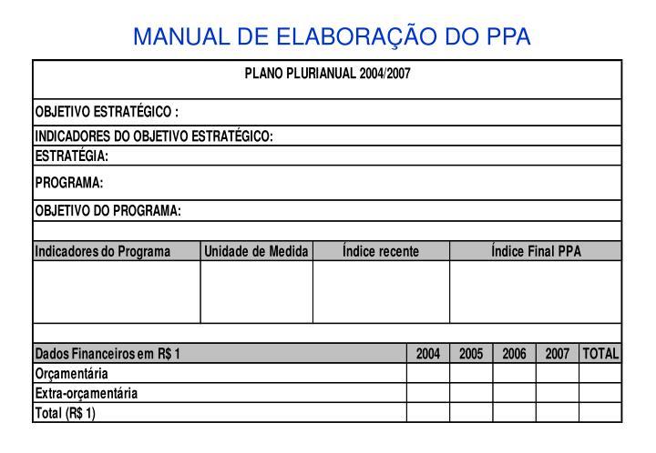MANUAL DE ELABORAÇÃO DO PPA