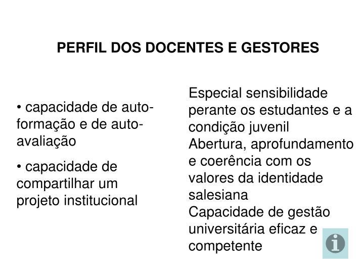 PERFIL DOS DOCENTES E GESTORES