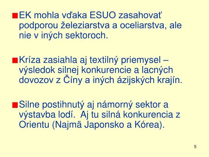 EK mohla vďaka ESUO zasahovať podporou železiarstva a oceliarstva, ale nie v iných sektoroch.