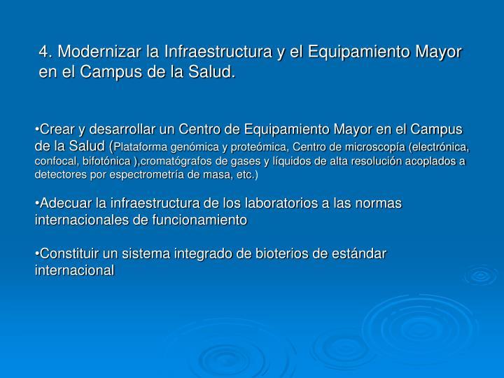 4. Modernizar la Infraestructura y el Equipamiento Mayor en el Campus de la Salud.