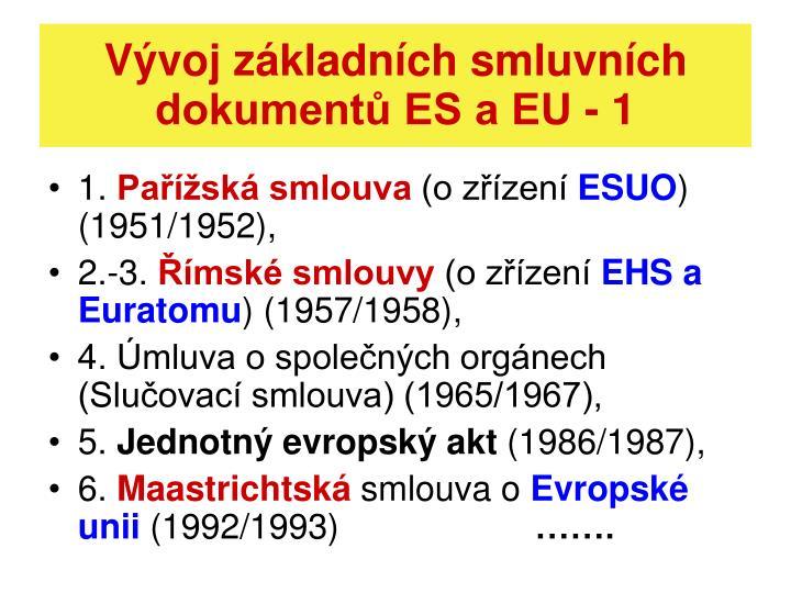 Vývoj základních smluvních dokumentů ES a EU - 1