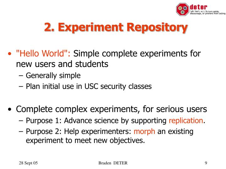 2. Experiment Repository