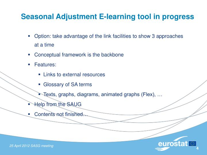 Seasonal Adjustment E-learning tool in progress