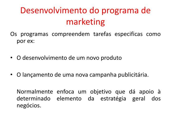 Desenvolvimento do programa de marketing