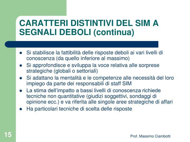 CARATTERI DISTINTIVI DEL SIM A SEGNALI DEBOLI (continua)