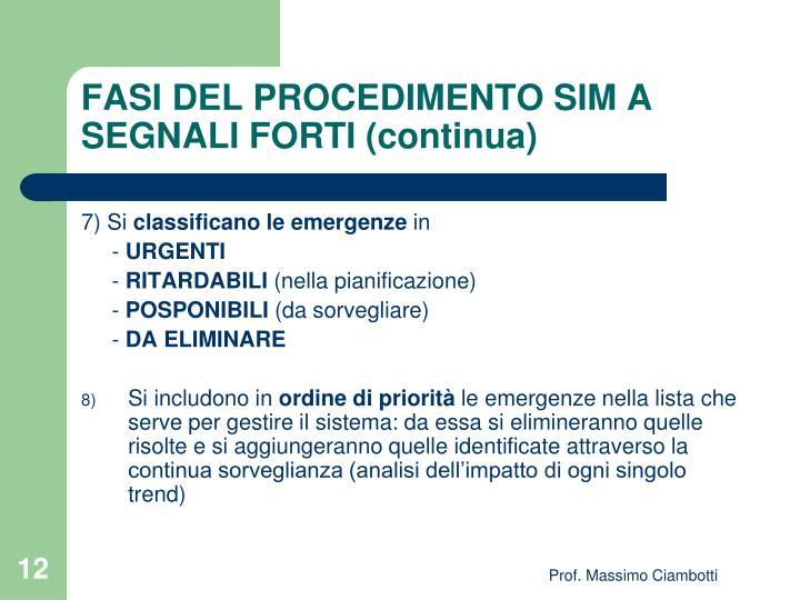 FASI DEL PROCEDIMENTO SIM A SEGNALI FORTI (continua)