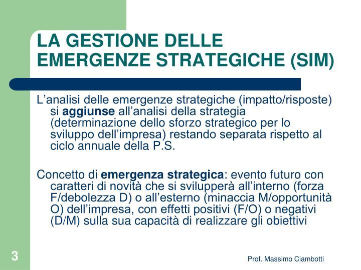 LA GESTIONE DELLE EMERGENZE STRATEGICHE (SIM)