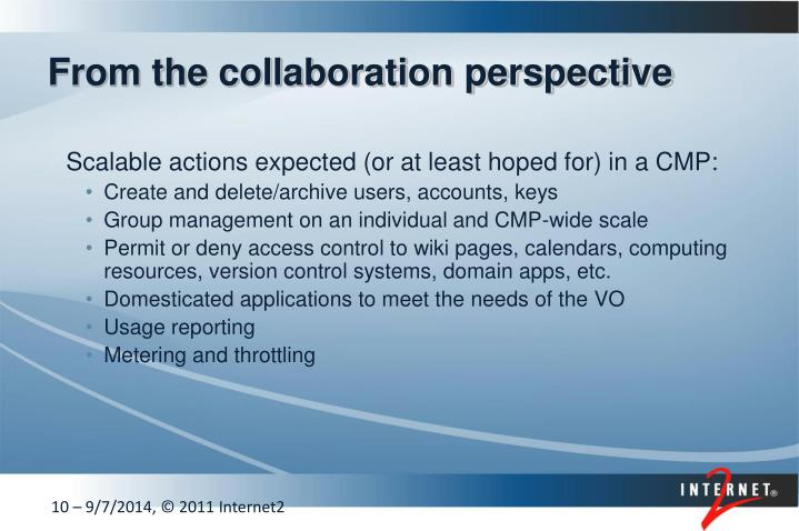 From the collaboration perspective