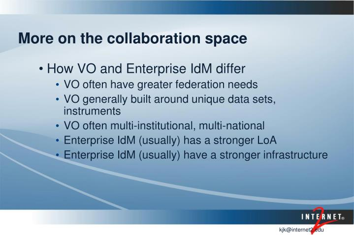 More on the collaboration space