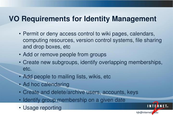 VO Requirements for Identity Management