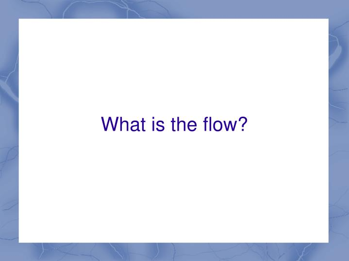 What is the flow?