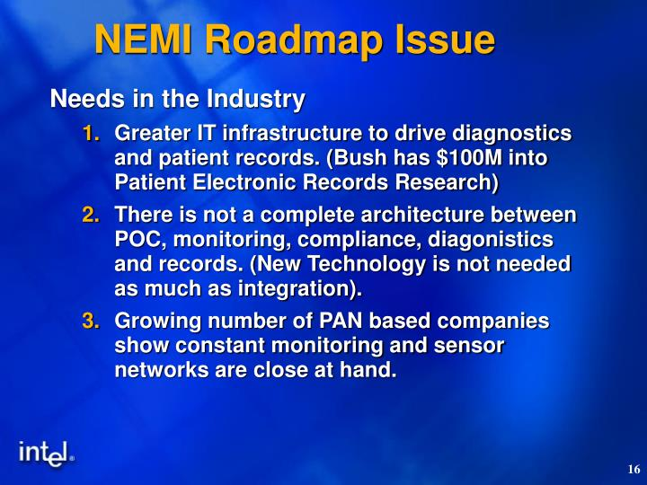 NEMI Roadmap Issue