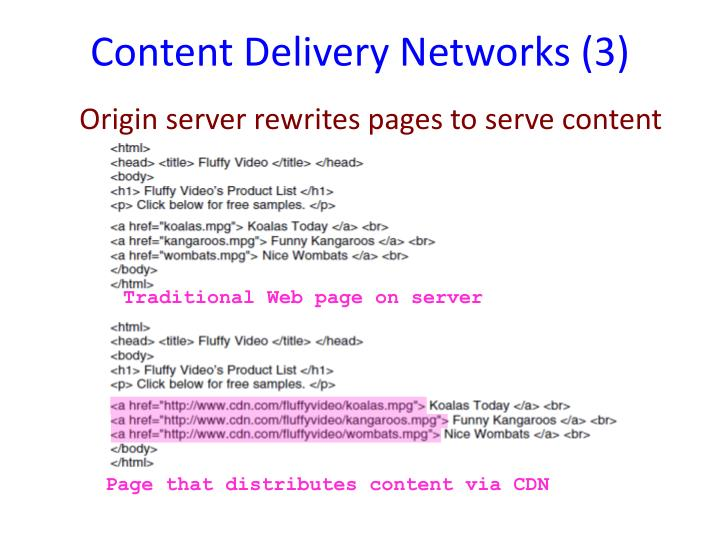 Content Delivery Networks (3)