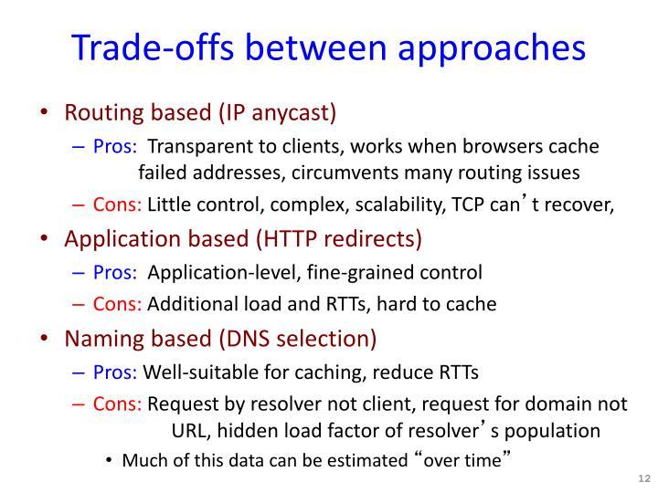 Trade-offs between approaches