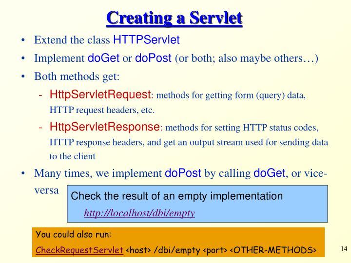 Creating a Servlet