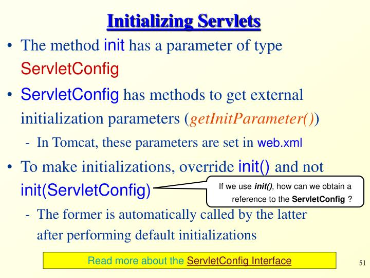 Initializing Servlets