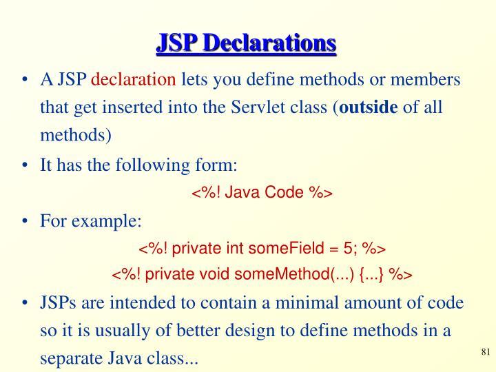 JSP Declarations