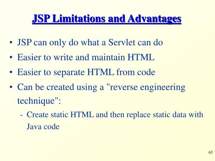 JSP Limitations and Advantages