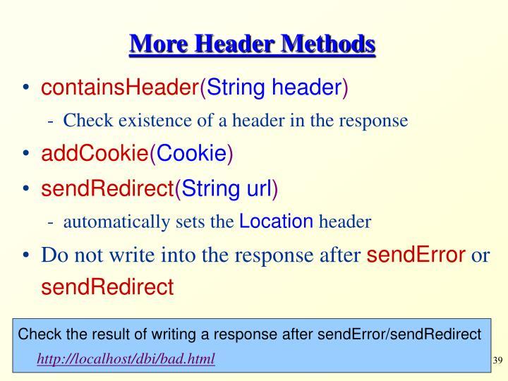 More Header Methods