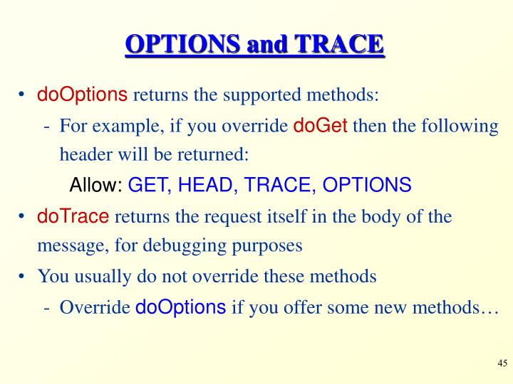 OPTIONS and TRACE