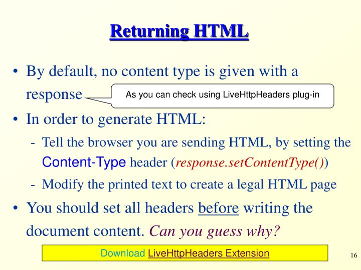 Returning HTML