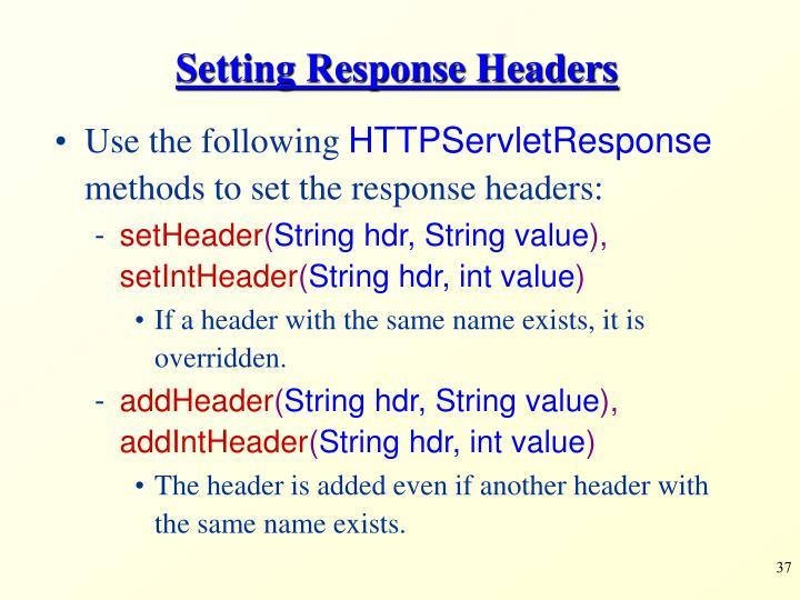 Setting Response Headers
