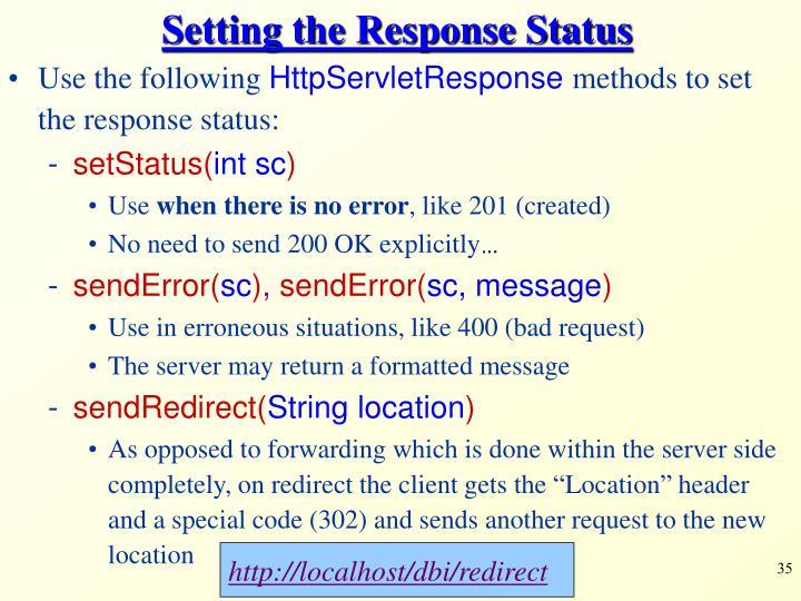 Setting the Response Status