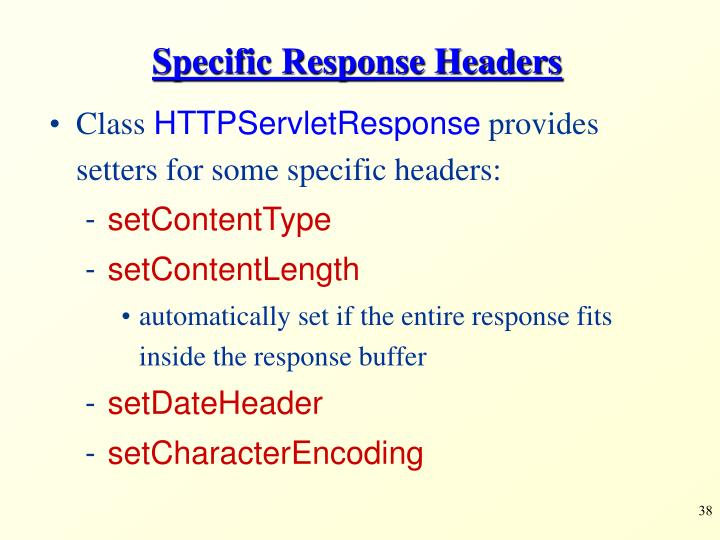 Specific Response Headers