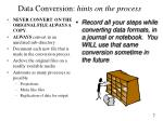 data conversion hints on the process