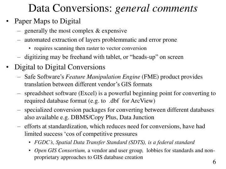 Data Conversions: